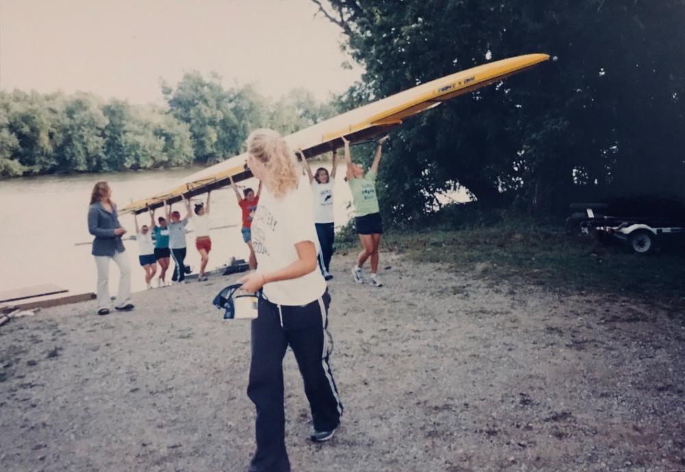 Me, leading the novice women's 8 as a coxen.